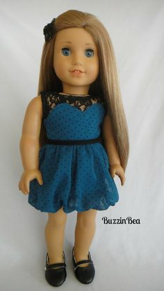 Sweetheart Green Polka Dot Dress for AG by BuzzinBea   $24.00