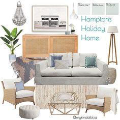 My KInd of Bliss Mood Board- Hamptons Home/ Coastal Home/ Beach House Decor Beach Cottage Style, Coastal Cottage, Coastal Homes, Coastal Style, Beach House Decor, Coastal Decor, Modern Coastal, Home Design, Home Interior Design