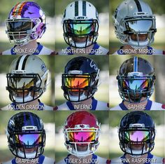 SHOC Lightning Football visors will fit the most common helmets today from Schutt Riddell Xenith and even the all new Vicis Custom Football Cleats, American Football Cleats, Cool Football Helmets, Sports Helmet, Football Gear, Football Outfits, Football Gloves, Football Memes, Football Clothing