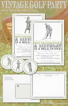 bnute productions: Vintage Golf Party Invitations and More