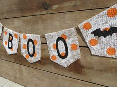 BOO Burlap Banner Halloween Decoration / Halloween Photography Prop. $22.00, via Etsy.