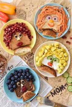 """Mothers Day Breakfast Discover Mothers Day Breakfast Toasts - Fork and Beans Make mom these edible portraits with these Mothers Day Breakfast Toasts. They are such a fun and easy way to tell mom """"I love you! Mothers Day Breakfast, Birthday Breakfast, Breakfast For Kids, Cute Food, Good Food, Yummy Food, Breakfast Toast, Breakfast Recipes, Healthy Meals For Kids"""