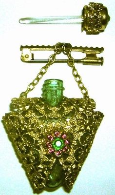 CZECH Perfume Bottle Mini Gold Filigree Emerald & Red Rhinestone Brooch/Pin.