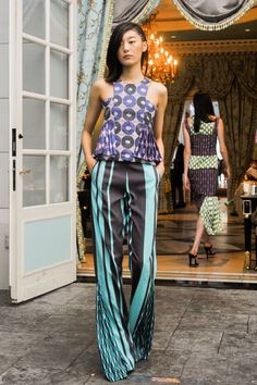 Lisa Folawiyo - Spring 2015 - silk Ankara print fabric top and pants ~African fashion, Ankara, kitenge, African women dresses, African prints, Braids, Nigerian wedding, Ghanaian fashion, African wedding ~DKK