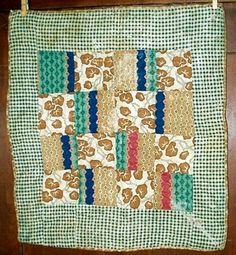 Hand stitched Civil War 19th C Homespun Calico Doll Quilt.
