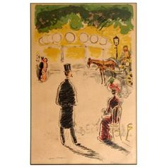 "Kees Van Dongen (Dutch, 1877-1968) A Color Lithograph on Paper titled ""Le Carrousel et le Fiacre"", 1950, edition 69/200, signed in pencil. It is glazed, matted, and framed and measures 16 1/2 x 11 in..."