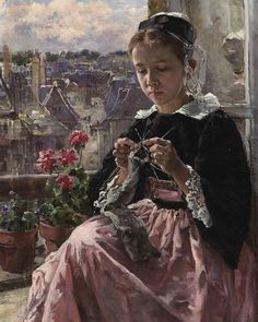 Knitting by the window/ Marie Lucas Robiquet (1858-1959)