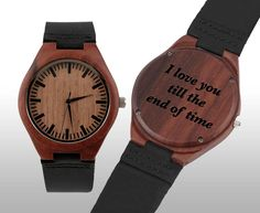 Fathers day gift, Fathers day gifts, Engraved Watch, Wood Watch, Engraved Wood Watch, Wooden Watch, Leather Strap, Red Wood, Customized