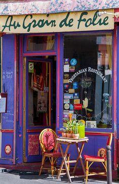you walk into a vegetarian restaurant like this one.Small Restaurant in Montmartre, Paris_ France Montmartre Paris, Oh Paris, I Love Paris, Cafe Restaurant, Small Restaurants, Shop Fronts, France Travel, Paris Travel, City Lights