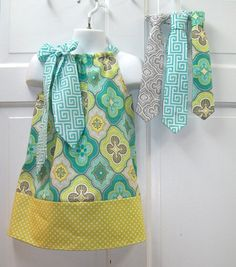 Sister and Brother Set Simply Adorable Pillowcase Inspired Dress and Matching Tie (Your Choice Of One) Custom Made to Order