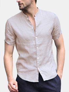 Men's short-sleeved shirt Loose Soft beach shirts no shirt - Blue M Stylish Shirts, Stylish Men, Casual Shirts For Men, Men Casual, Cotton Shirts For Men, Mens Linen Shirts, Mens Linen Outfits, Collarless Shirt Men, Formal Men Outfit