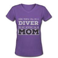 T-Shirts ~ Women's V-Neck T-Shirt ~ Diver Mom