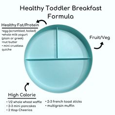 Want to know the trick to making a quick and nutritious breakfast for your toddler? Check out this formula created by a nutritionist & realistic mom. Healthy Toddler Breakfast, Healthy Toddler Meals, Toddler Lunches, Healthy Kids, Kids Meals, Nutritious Breakfast, Toddler Food, Healthy Breakfasts, Baby Meals