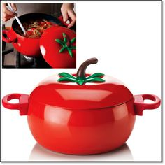 "new  Tomato-Shaped Cooking Pot A fun non-stick pot in a figural tomato shape. 3 1/2"" H x 7 1/8"" diam. Hand wash. Carbon steel with non-stick coating. Imported. Item#: 330-265 Price: $24.99  a taste of ITALY stir up something saucy"
