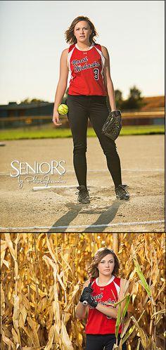 Field of Dreams: Softball senior picture idea in a cornfield in Iowa. #softballseniorpictureideas #softballseniorpictures #seniorsbyphotojeania