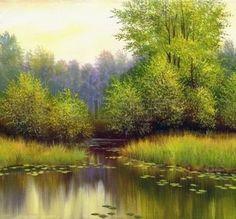 peinture toile: paysage d'été belle, toile, huile Banque d