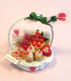 Dollhouse miniature Valentine Basket by Asakomini on Etsy, $19.00