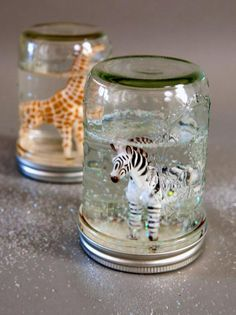 How to Make Glitter Snow Globes From Mason Jars. Axel would like this with Buzz Lightyear inside :)