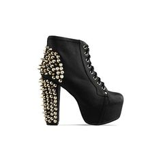 Jeffrey Campbell - Lita Spike CMYK (225 AUD) ❤ liked on Polyvore featuring shoes, boots, ankle booties, heels, jeffrey campbell, black gold, high heel ankle booties, high heel booties, black platform booties and platform booties