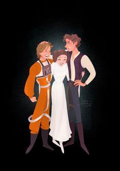 Rebellion Trio, an art print by Jane Pica Star Wars Fan Art, Star Wars Meme, Starwars, Princesa Leia, Star Wars Drawings, Art Drawings, Han And Leia, Fanart, Chewbacca