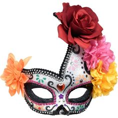 Floral Sugar Skull Masquerade Mask - Day of the Dead