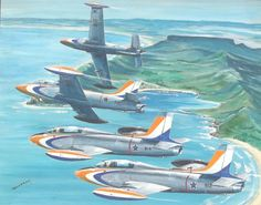 Silver Falcons - SAAF display team over the Cape, painting by Derek Dickens South African Air Force, F14 Tomcat, Air Force Aircraft, Airplane Art, Impalas, Red Arrow, Brick Road, Aeroplanes, Aviation Art