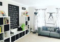 Play Room Goals! Perfect for kids and adults. Love all the storage and those adorable pillows. Cactus pillow, pillows for kids, play room decor, play room design, storage for toys #playroom #kids #storage #kidsdecor