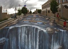 "Julian Beever AKA the ""Sidewalk Artist"" is absolutely amazing. The only thing he uses is chalk!"