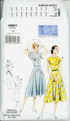 1940s Circular Skirt Dress Pattern Vogue 8811 29 to by CynicalGirl