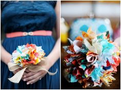 The bride at this DIY wedding made these awesome fabric bouquets | Two Birds Photography