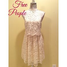 """Free People   Overlay Cream Lace ⚜Bust: 17"""" ⚜Waist: 14"""" ⚜Length: 36""""  Condition: New; No Rips; No Stains   Elastic waist band  65% Cotton 35% Nylon  No TradesNo Holds Free People Dresses"""