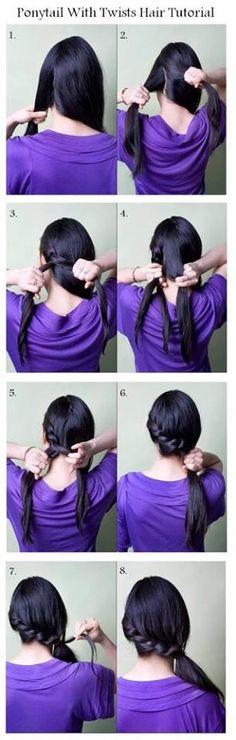 Hair Easy Work Hairstyles, Twist Hairstyles, Ponytail Hairstyles, Pretty Hairstyles, Hairdos, Hair Updo, Updos, Curly Hair, Easy Hairstyle