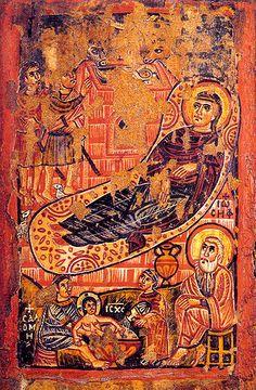 Рождество Христово. Византийская икона - Иконы и фрески Рождества - Рождество. Иконы и фрески - Иконопись и иконы - Библия и искусство - Православный Поклонник на Святой Земле