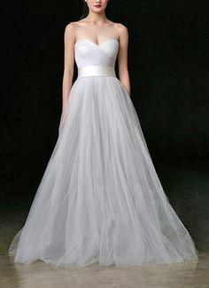 Elegantes Tüll Brautkleid A-Linie