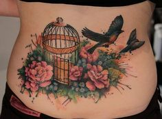 flying bird and cage watercolor tattoo on low back - flower, leaves