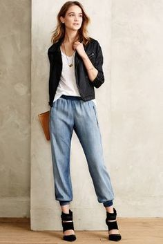 #anthrofave Cloth & Stone Zipped Chambray Joggers
