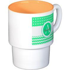 Green Polka Dot Chevron Monogram Personalized Coff on CafePress.com