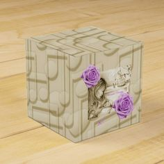 Carousel Dreams Vintage Music & Roses Favor Box by MoonDreams Music #favorbox #square #babyshower #partyfavor #music #roses #purple #carouseldreams #moondreamsmusic #pretty