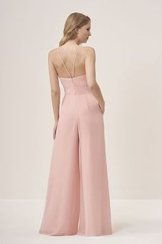 V-neck, spaghetti strap, wide leg jumpsuit with thin, V straps on the back. Detailed ruching on the bottom and side pockets to complete the fun, trendy look. Jasmine Bridesmaids Dresses, Wedding Bridesmaid Dresses, Wedding Outfits, Jasmine Bridal, Jasmine Dress, Chiffon Pants, Wedding Jumpsuit, Jumpsuit Pattern, Dress Images