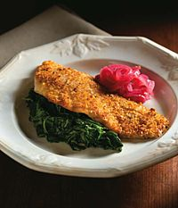 Almond Crusted Barramundi with Spinach and Pickled Onion | Australis Barramundi - The Sustainable Seabass®
