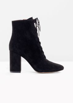 & Other Stories image 1 of Suede Lace Up Boots in Black