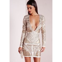 Premium Plunge Embellished Bodycon Dress Cream (350 BRL) ❤ liked on Polyvore featuring dresses, bodycon cocktail dress, creme dresses, body conscious dress, plunge dress and pink cocktail dress