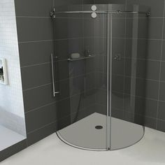 VIGO 36-Inch x 36-Inch Frameless Round Shower Stall in Clear with Chrome