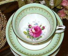 PISTACHIO LIME & PINK ROSE CENTER HAMMERSLEY TEA CUP AND SAUCER #VintageBoneChinaTeaCupSaucerAntiqueTeacup