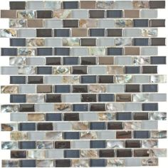 Mother of Pearl, Blue Polished & Frosted Glass Kitchen Bath Mosaic Tile- 1 Sheet