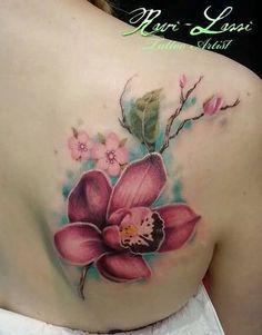 3544a37680f28 Cattleya Tattoo Black · Realistic Purple Ink Orchid Tattoo Orchid Tattoo  Meaning, Rat Tattoo, Color Combos, Watercolor