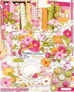 #digitalscrapbooking flower and #cardmaking flower kit.  A bright and cheery kit with so many uses! FQB - From Laughter to Memories Collection