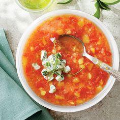 Peach-tomato gazpacho.  Delicious.  I found the recipe in Southern Living.
