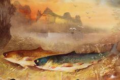 Lot 581: 15 pc. Limoges porcelain fish set, signed Muville
