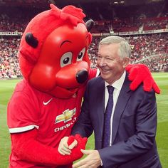 Fred the Red with Sir Alex Ferguson in 2014